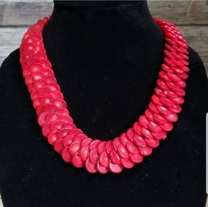 Red Coral 925 Sterling Silver Statement Necklace